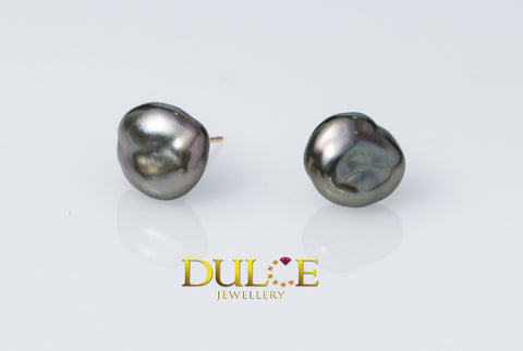 18K Gold Tahitian Keshi Pearls Earrings
