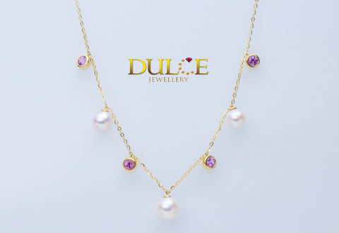 9K Gold Pink Sapphire & Japan Akoya / Freshwater Pearls Necklace