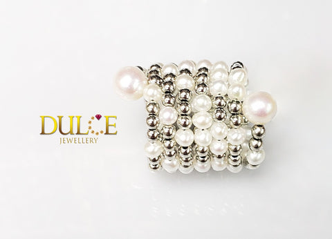SRTIT Metallic Freshwater Pearls Ring