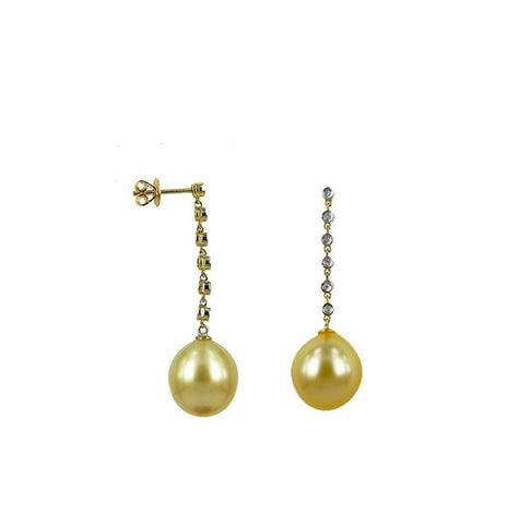 Golden South Sea Drop Pearls in 18K Yellow Gold Diamond Dangle Earrings