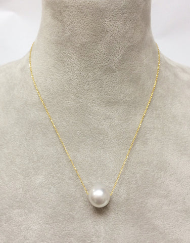 Giant White Southsea Pearl in 14K Yellow Gold Chain Necklace