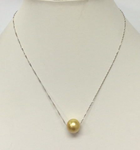 One golden Pearl in 14K White Gold Chain Necklace