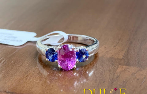 18K Gold Pink & Blue Sapphire Ring