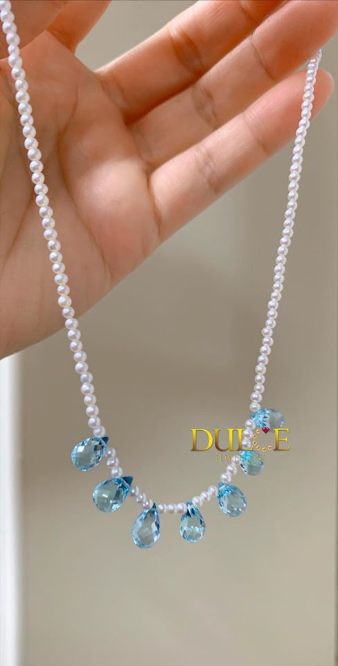14K Gold Blue Topaz & Freshwater Pearl Necklace