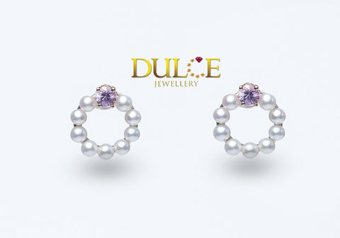 18K Gold Pink Sapphire & Freshwater Pearls Earrings