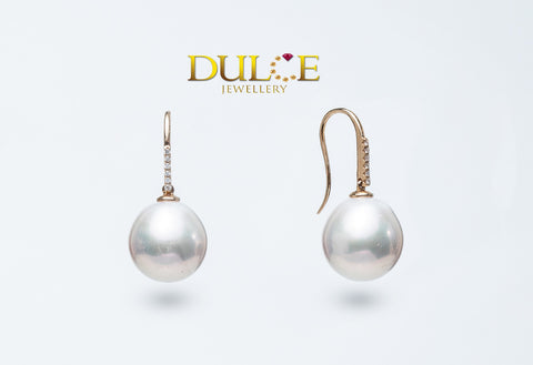 18K Gold Freshwater Pearls Diamond Earrings
