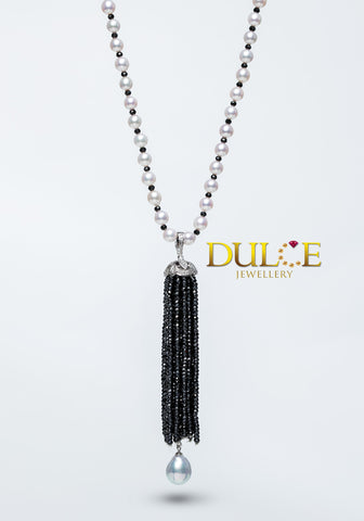 GPTAS 18K Gold Black Spinel / SSP / Diamond Tassel Pendant ( Necklace Not Included)