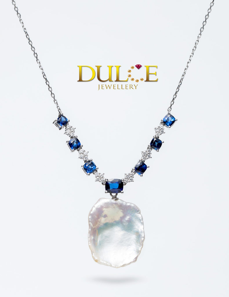 18K White Gold Blue Sapphire & Diamond Necklace (Pearl not included)