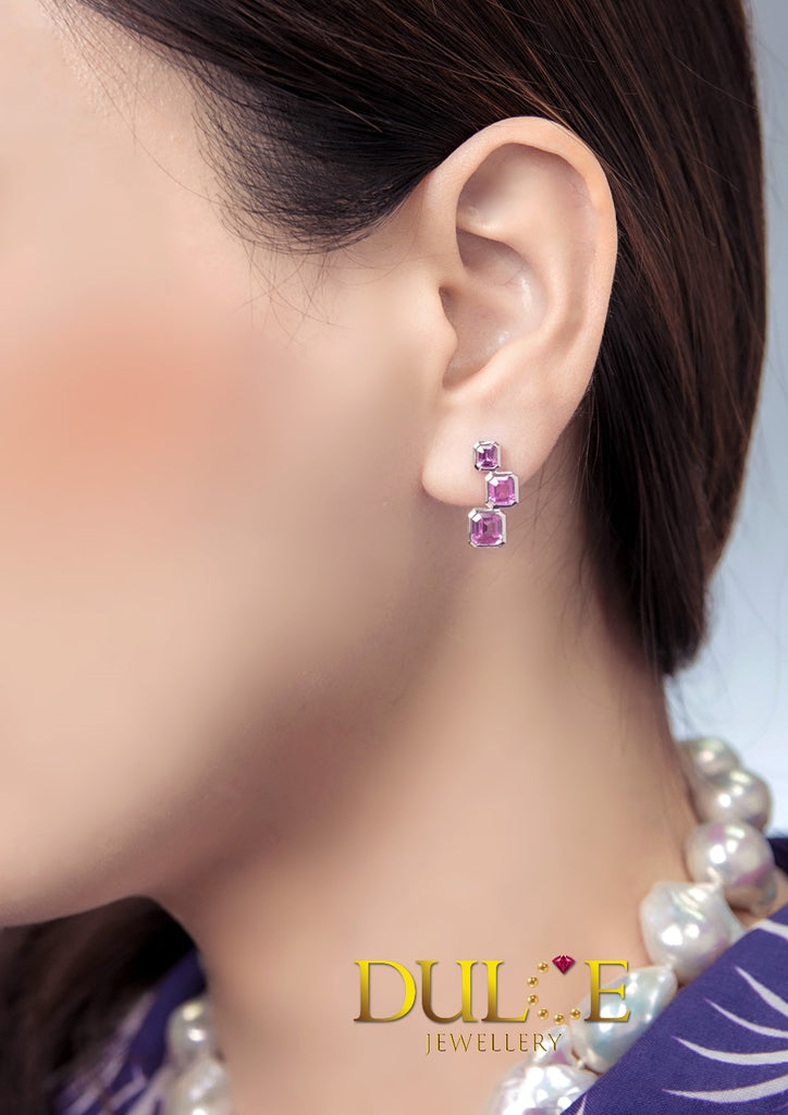 18K Gold Pink Sapphire Earrings (Pearls Not Included)