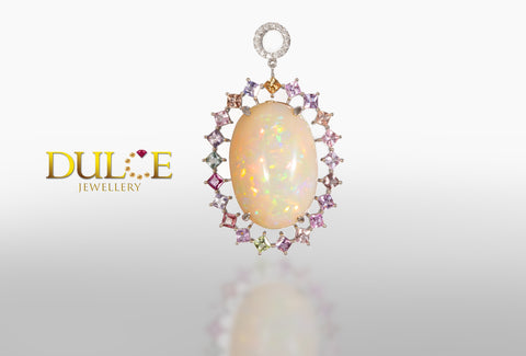 18K Gold Natural Opal & Natural Sapphire Pendant
