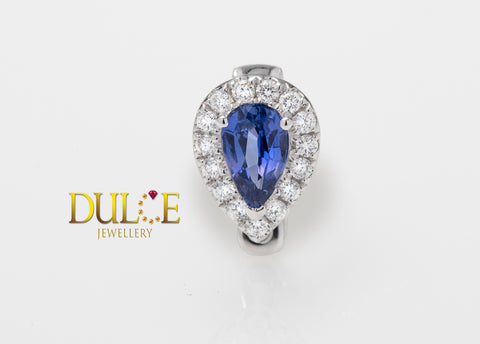 18K Gold Natural Sapphire Diamond Clasp