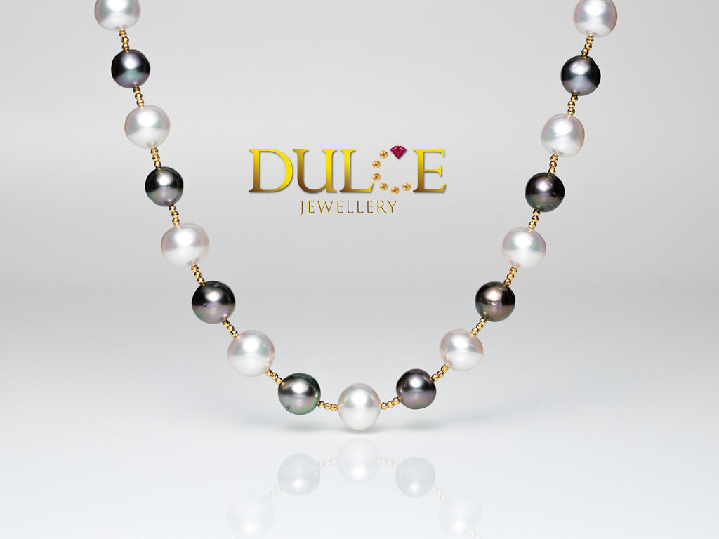 18K Gold Southsea Pearls / Tahitian Pearls Necklace