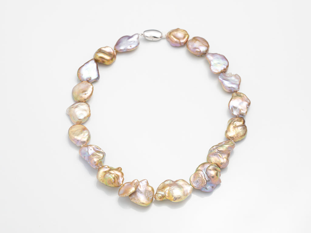 (Silver) Metallic Keshi Pearl Necklace