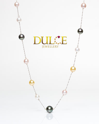 (GN8110) 14K Gold Tahitian Pearls / Japan Akoya Pearls Necklace