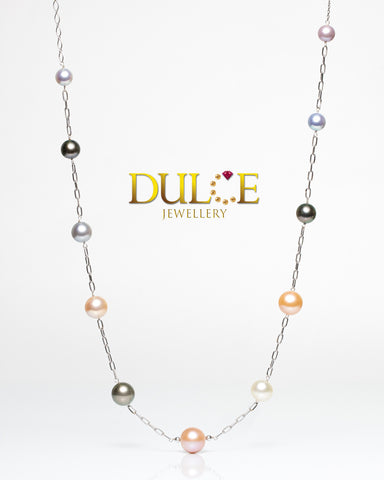(GN813MC) 18K/14K Gold Tahitian / Southsea / Freshwater Pearls & Japan Akoya Pearls Necklace