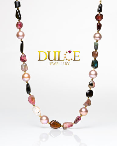 Silver Tourmaline & Metallic Freshwater Pearls Necklace