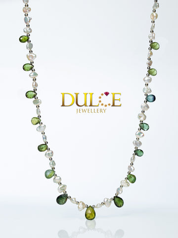 Tourmaline & Metallic Freshwater Keshi Necklace (Silver Clasp)