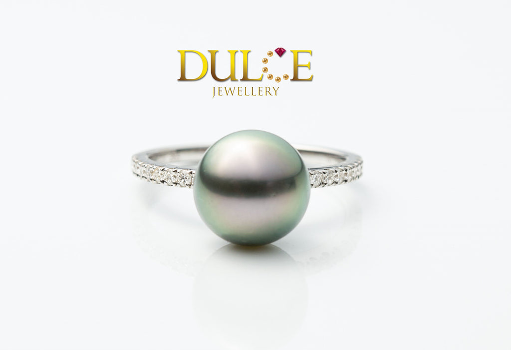 18K Gold Tahitian Pearl Diamond Ring
