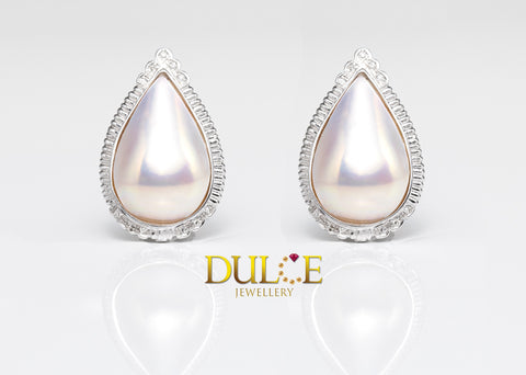 14K Gold Japan Mabe Pearls Diamond Earrings