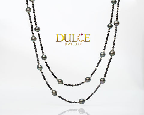 (Silver) Black Spinel & Tahitian Pearl Necklace
