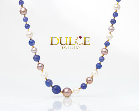 (Silver) Tanzanite & Freshwater Pearls Necklace