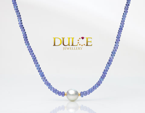 (Silver) Tanzanite & Southsea Pearl Necklace