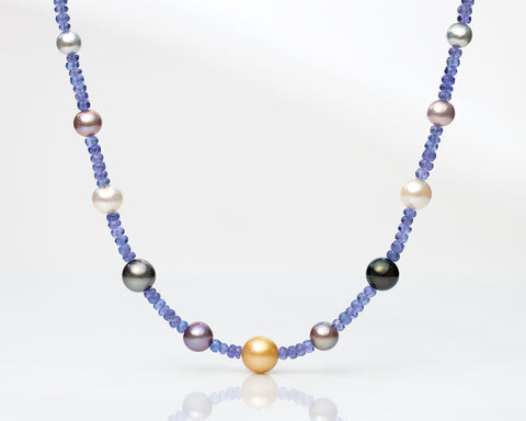 (Silver) Tanzanite & SSP / FWP/ Japan Akoya / Tahitian Pearls Necklace