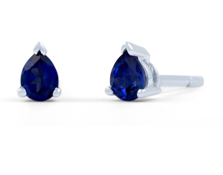 18K Gold Blue Sapphire Earrings