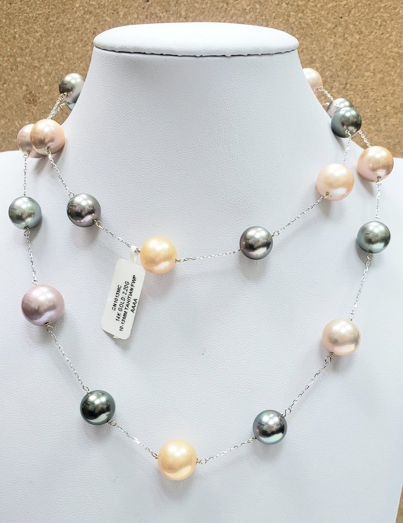 14K Gold Tahitian / Freshwater Pearls Necklace