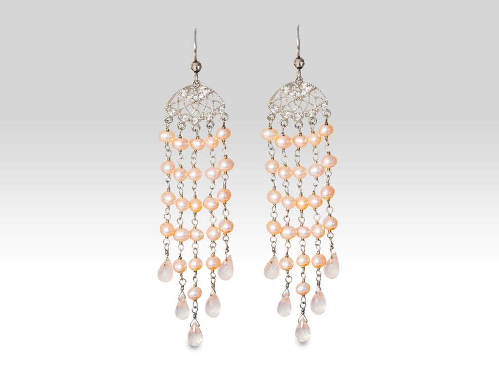 Silver Rose Quartz & Pink Freshwater Pearls Earrings