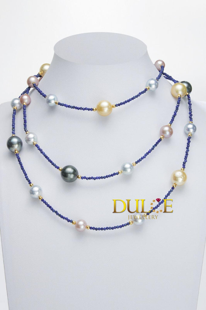 Silver Freshwater / Tahitian / Southsea / Japan Akoya Pearls & Lapiz Beads Necklace