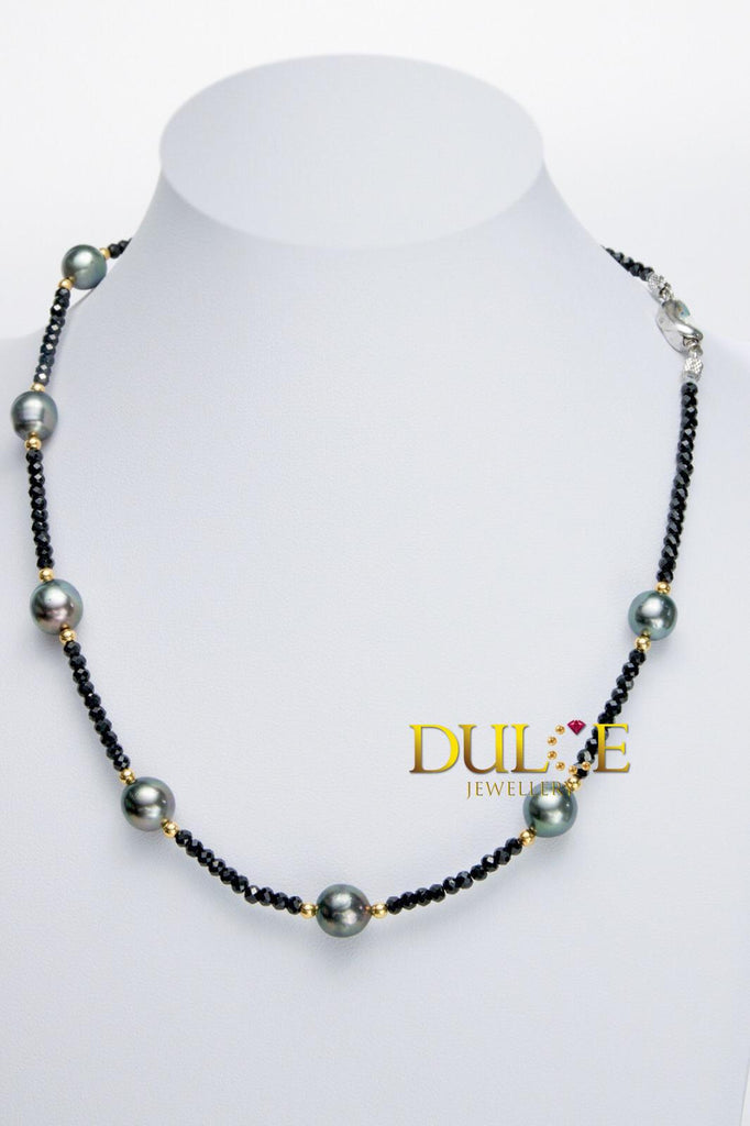 18K Gold Black Spinel & Tahitian Pearls Clasp