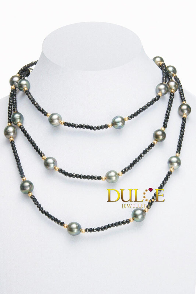 18K Gold Black Spinel & Tahitian Pearls Necklace