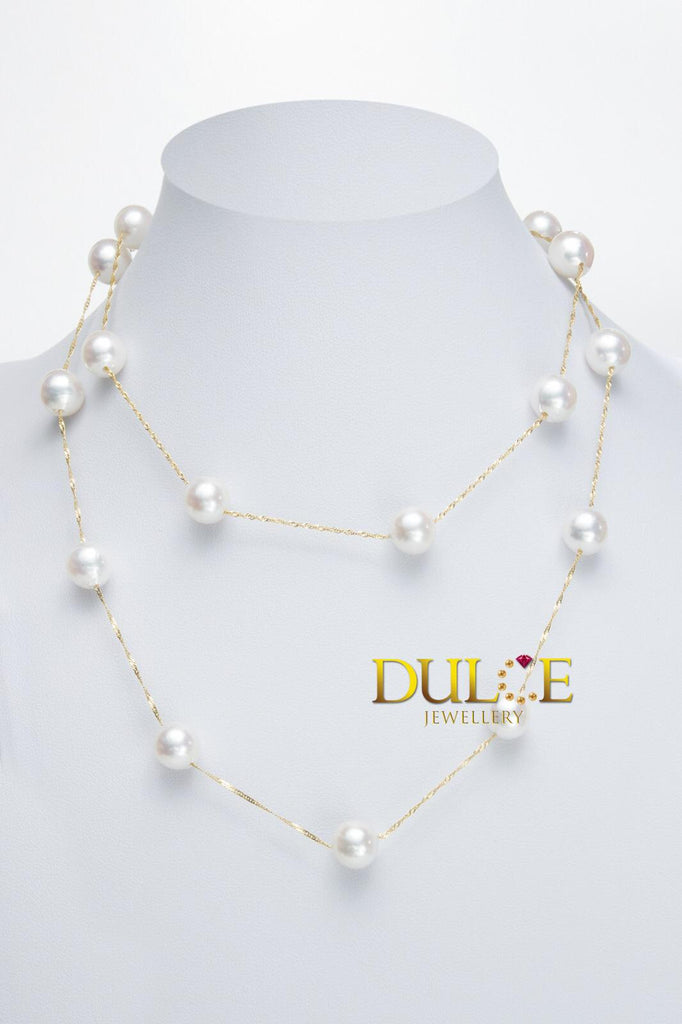 18K Gold Japan Akoya Pearls Necklace