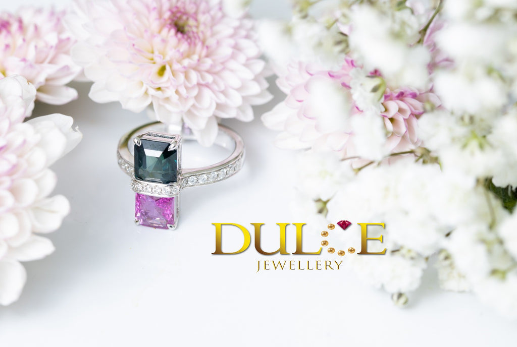 18K Gold Blue Green Pink Sapphire Ring
