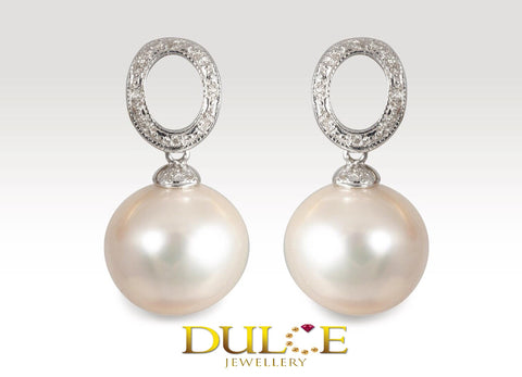 18K Gold Southsea Pearl Diamond Earrings