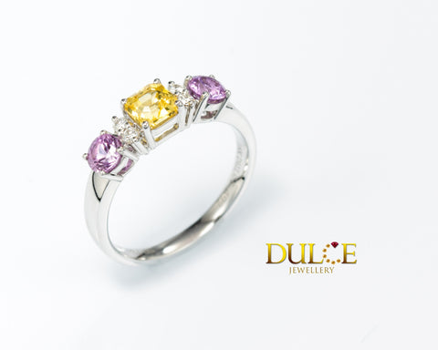 18K Gold Multi-Color Sapphire Diamond Ring