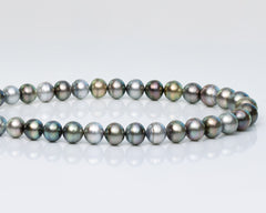 "Promotion : Semi-Round Tahitian Pearls Necklace (Length 16"")"