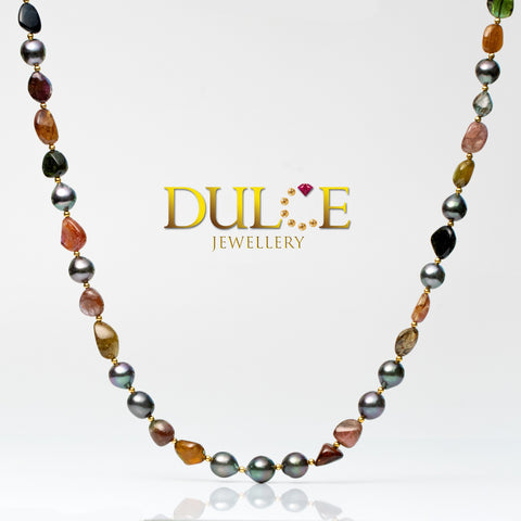 (Silver) Tourmaline & Tahititan Pearls Necklace