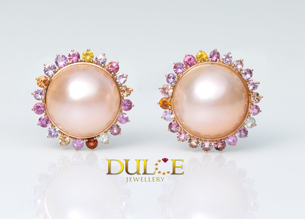 18K Gold Japan Mabe Pearl & Natural Sapphire Earrings