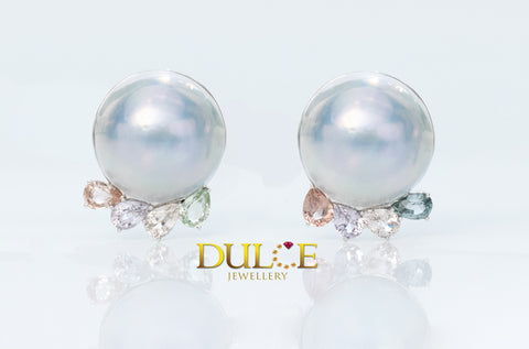 18K Gold Japan Mabe & Sapphire Earrings (Freshwater Pearls Not included)