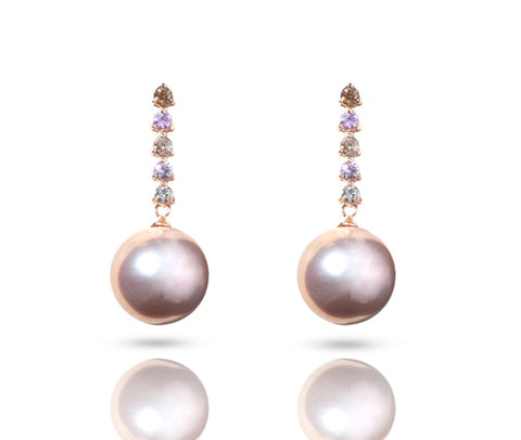 18K Gold Diamond & Pink Sapphire Earrings (Pearl not included)