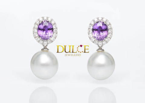18K Gold Pink Sapphire Diamond Earrings (Pearls not included)