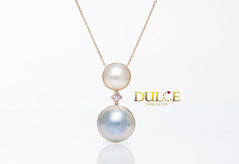 18K Gold Japan Mabe Pearls Necklace