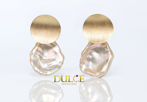 18K Gold Keshi Pearls Earrings
