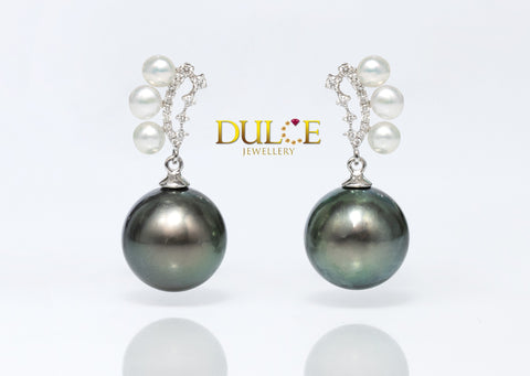 18K Gold Tahitian Pearls & Freshwater Pearls Diamond Earrings