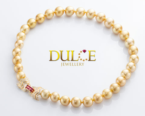 14K Gold Ruby & Australian Southsea Pearls Necklace