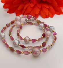 Silver Tourmaline/Japan Akoya/Freshwater Pearls Clasp