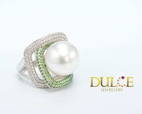 Australian Round Southsea Pearl with Diamond and Tsavorite 18K Gold Ring