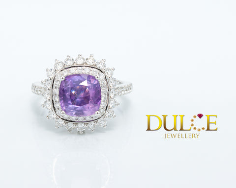 18K Gold Natural Sapphire Diamond Ring